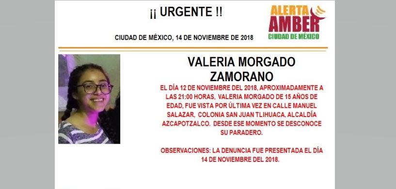 Alerta Amber para localizar Valeria Morgado