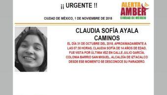 Alerta Amber localizar Claudia Sofía Ayala Caminos