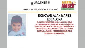 Alerta Amber para localizar a Donovan Alan Mares Escalona