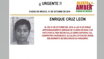 Alerta Amber para localizar a Enrique Cruz