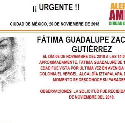 Alerta Amber: Ayuda a localizar a Fátima Guadalupe Zacarías Gutiérrez