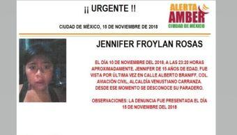 Alerta Amber para localizar a Jennifer Froylan Rosas
