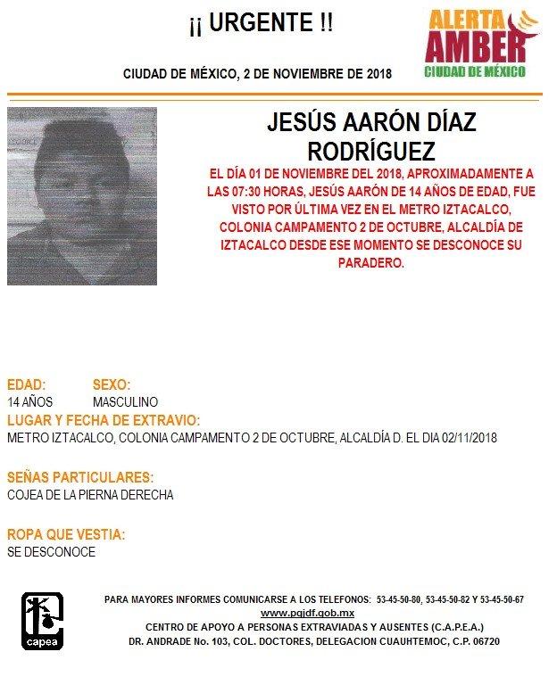 Alerta Amber Jesús Aarón Díaz Rodríguez