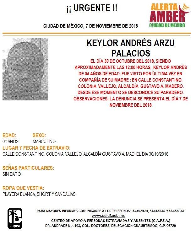 Alerta Amber para localizar a Keylor Andrés