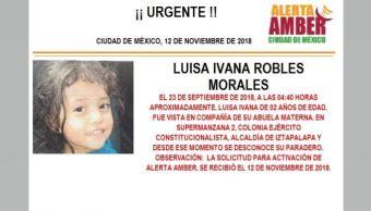 Alerta Amber para localizar a Luisa Ivana Robles