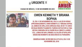 Alerta Amber para localizar a Owen Kenneth y Briana Sophia