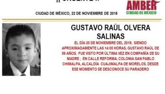 Alerta Ámber: Piden ayuda para localizar a Gustavo Raúl Olvera Salinas