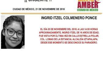 Alerta Amber para localizar a Ingrid Itzel Colmenero Ponce, de 16 años
