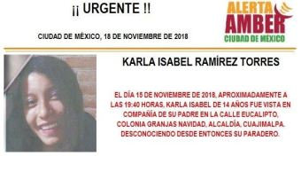 Alerta Amber: buscan a Karla Isabel Ramírez Torres