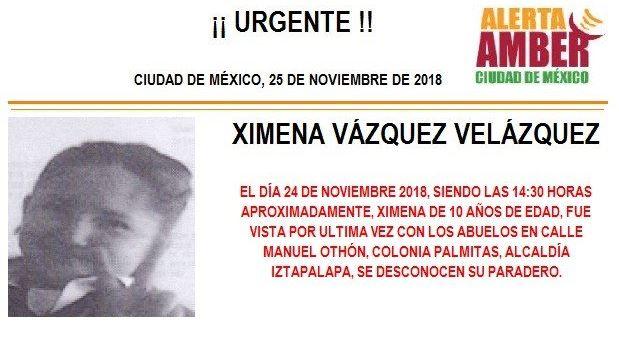 Alerta Amber: piden ayuda para localizar a Ximena Vázquez