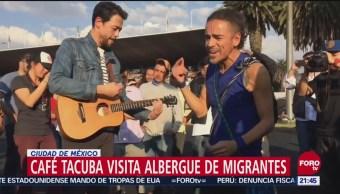 Café Tacvba visita caravana migrante en la CDMX