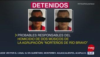 Capturan a dos sospechosos de homicidio en Tamaulipas