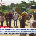 Caravana de migrantes hace escala en Matías Romero, Oaxaca