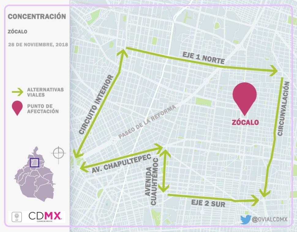 Cerrada la circulación en vialidades inmediatas al Zócalo