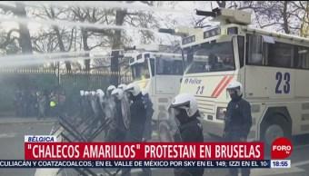'Chalecos amarillos' protestan en Bélgica por alza de impuestos