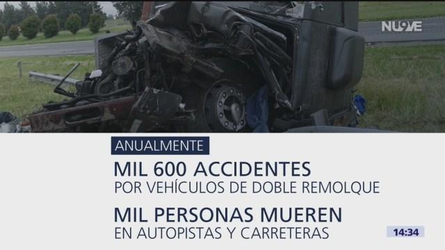 Cifras rojas de accidentes provocados por vehículos de doble remolque en México