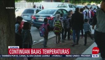 Continúan bajas temperaturas en Sonora