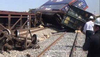 Descarrila tren en Escobedo, Nuevo León vuelcan contenedores