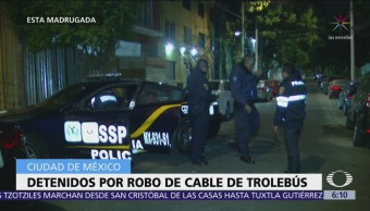 Detienen a dos hombres por robar cable del Trolebús en la CDMX