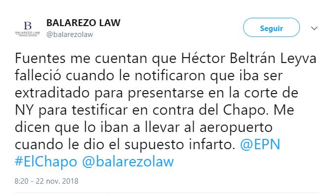 Eduardo Balarezo tuitea sobre la muerte de Beltrán Leyva. (@balarezolaw)