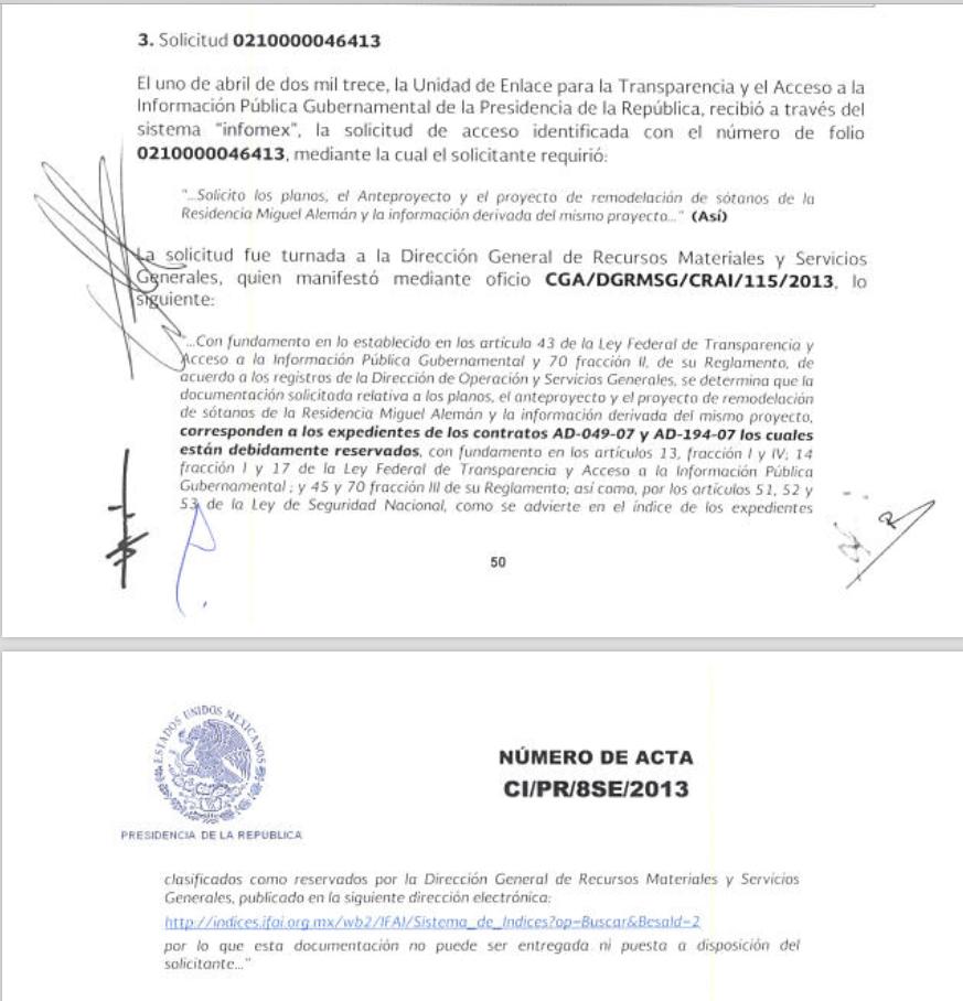 El documento oficial en el que se ratifica que los planos del sótano hecho por Calderón en la casa Miguel Alemán se encuentran bajo reserva (SinEmbargo)