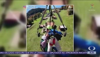 Falla arnés de instructor de vuelo en ala delta en Suiza y cae