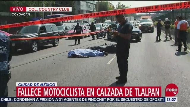 Fallece motociclista tras ser atropellado en calzada de Tlalpan, CDMX