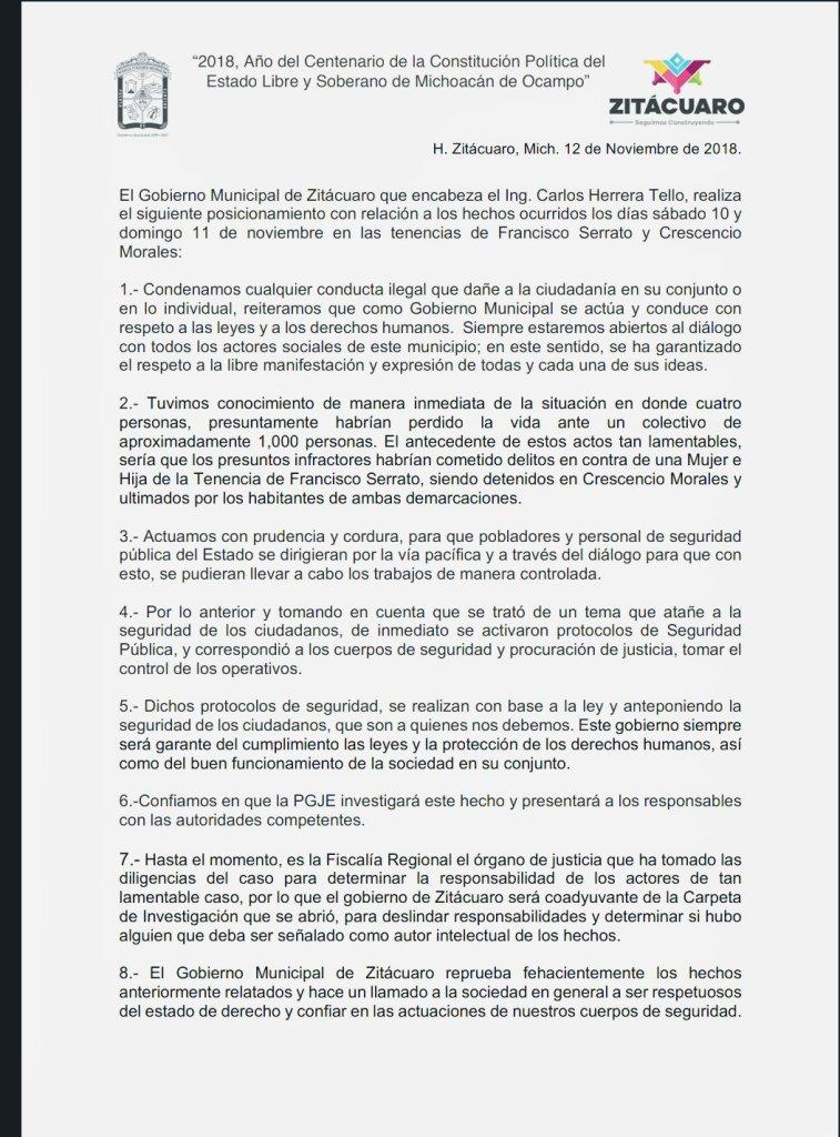 Gobierno de Zitacuaro, Michoacán, se pronuncia ante los hechos