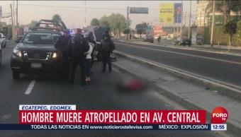 Hombre muere atropellado en Avenida Central en el Edomex