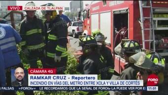 Incendio se registra en vías del Metro de la Línea 2 entre Xola y Villa de Cortés