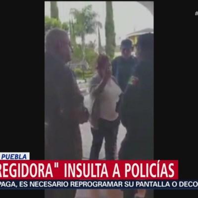 'Lady regidora' insulta a policía en Ocoyucan, Puebla