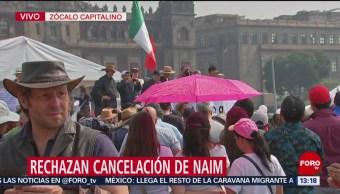 Marcha ciudadana que rechaza cancelación de aeropuerto en Texcoco