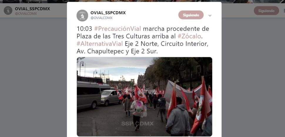 Marcha procedente de la Plaza de las Tres Culturas llegó al Zócalo