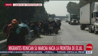 Migrantes reinician marcha de Tepotzotlán hacia Estados Unidos
