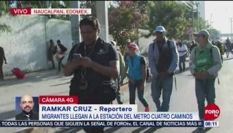 Miembros de la caravana migrante llegan al metro Cuatro Caminos