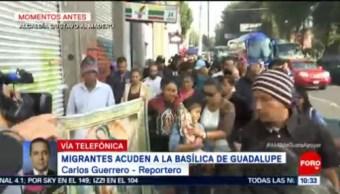Miembros de la segunda caravana migrante acuden a la Basílica de Guadalupe