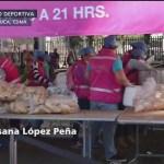 Migrantes centroamericanos reciben alimento en la CDMX