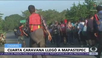 Migrantes de la cuarta caravana llegan a Mapastepec, Chiapas