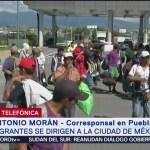 Migrantes pasarán la noche en Puebla