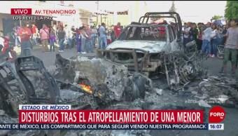 Muere menor atropellada en Los Reyes La Paz; incendian vehículos