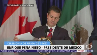 Peña Nieto firma T-MEC y destaca novedades, como capítulo de comercio electrónico