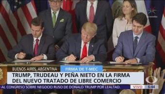 Peña Nieto, Trump y Trudeau firman T-MEC en Buenos Aires