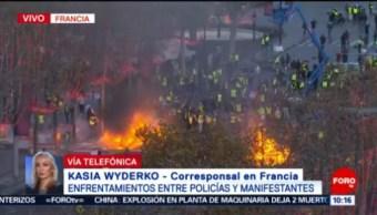 Policía Antimotín Dispersa Manifestaciones Francia Incremento Del Costo De Hidrocarburos París