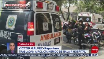 Trasladan a policía herido de bala a hospital de la CDMX