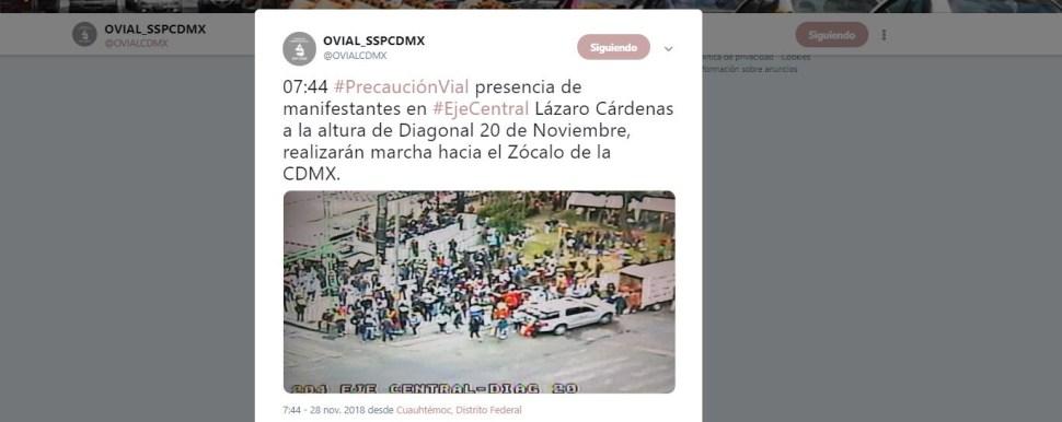 Presencia de manifestantes en Eje Central