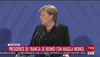 Presidente De Francia Reunión Ángela Merkel Fráncfort, Alemania Presidente Francés, Emmanuel Macron Canciller Alemana, Angela Merkel