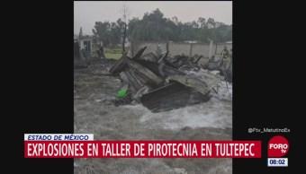 Reportan dos explosiones en taller de pirotecnia en Tultepec