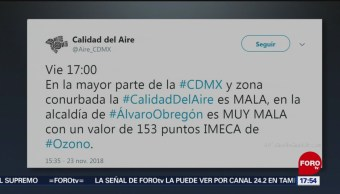 Reportan Que Calidad Del Aire En La CDMX Es Mala Sistema De Monitoreo Atmosférico Viernes 23 De Noviembre Calidad Del Aire Calidad Del Aire Calidad Del Aire Ciudad De México