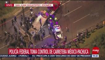 Retiran Vehículos Incendiados Bloquean México-Pachuca