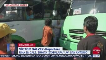 Riña entre transportistas provoca tráfico en calzada Ermita Iztapalapa